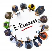 Multiethnic Group of Business People with E-Business