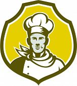 Baker Chef Cook Bust Front Shield Retro