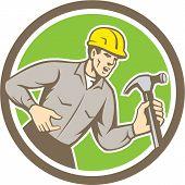 Builder Carpenter Shouting Hammer Circle Retro