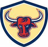 Angry Bull Head Crest Retro