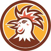 Cockerel Rooster Head Circle Retro