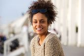 Young African American Woman Smiling Outdoors