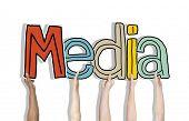 Group of Hands Holding Letter Media