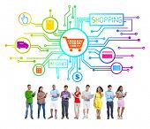 Group of People with Internet Shopping Concept