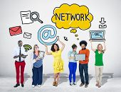 Group of People with Networking Concepts