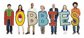 Cheerful Diverse Business People and Text Hobbies