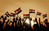 pic of iraq  - Silhouettes of People Waving the Flag of Iraq - JPG