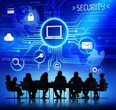 Business People in a Meeting and Security Concepts