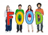 Multi-Ethnic Group of People Holding Text Food