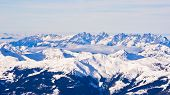 Panoramic view of Austrian alps from the top of Kaprun glacier
