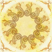 Vector art Hand Drawn Ethnic Circular Beige Ornament.