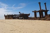 stock photo of shipwreck  - Maheno shipwreck in Fraser Island beach - JPG