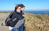 Teenage Sisters Enjoying The Costa Brava Winds And Views