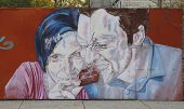 Mural art in Red Hook section of Brooklyn
