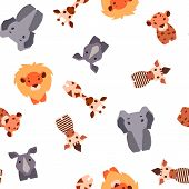 Vector seamless pattern with Safari animals