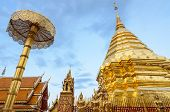 Golden Pagoda At Doi Suthep Temple, Landmark Of Chiang Mai, Thailand