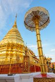Golden Pagoda At Doi Suthep Temple, Landmark Of Chiang Mai, Thailand