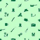 Black Backwoodsman Icons Seamless Green Pattern Eps10