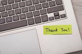 Thank You ! Sticky Note On Laptop