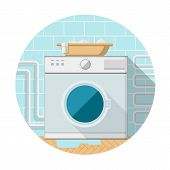 stock photo of wash-basin  - Gray washing machine with horizontal loading and brown basin with clothes on - JPG