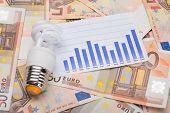 Energy Saving Bulb And Graph On Euro Banknotes