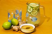 Drink With Lemon, Ginger And Honey.