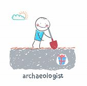 archaeologist stands on the spot where buried gift