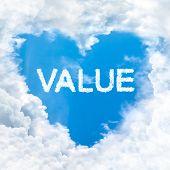Value Word On Blue Sky