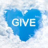 foto of word charity  - give word nature on blue sky inside love heart cloud form - JPG