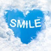 Smile Word On Blue Sky