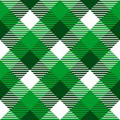 Checkered gingham fabric seamless pattern in green and white, vector