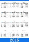 Pocket calendar in minimalistic style. Vector illustration. 2015 calendar grid.