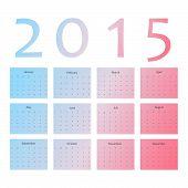 Monthly wall calendar. Vector illustration. 2015 calendar grid.