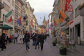 Pedestrian Street Rennweg, Zurich, Switzerland.