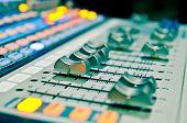 picture of mixer  - sound music mixer control panel in studio  - JPG