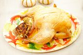 Thanksgiving Roasted Turkey On A Festive Platter