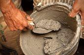 Cement Mortar In Bucket