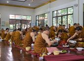 The Buddhist Monk Have Breakfast Given By People Who Want To Make Great Merit