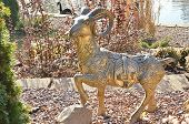 Golden goat statue. Chinese New Year 2015.
