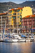 View On Port Of Nice And Luxury Yachts, French Riviera, France