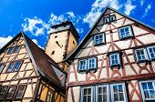 Half-timbered houses in Lohr am Main in Spessart Mountains, Germany