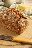stock photo of home-made bread  - Irish wheaten bread soda bread made with wholemeal flour - JPG