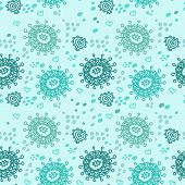 Seamless Abstract Hand-drawn Pattern In Emerald Colors, Floral B