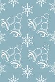 seamless pattern with snowflakes and jingle bells