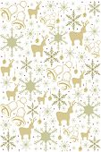 christmas pattern with snowflakes, jingle bells and reindeer