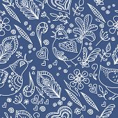 Vector Abstract Seamless Background With Flowers, Birds And Hear
