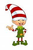 image of elf  - A cartoon illustration of a cute Christmas elf character - JPG