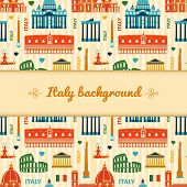 Landmarks of Italy background with space for text