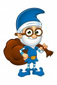 foto of elf  - A cartoon illustration of a old looking elf character dressed in blue - JPG
