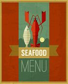 Vector Vintage Seafood Menu Poster With Fish, Lobster And Lemon.